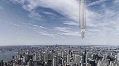 Проект небоскреба подвешенного к астероиду показали в США